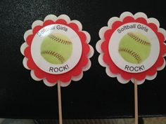 Softball party decorations cupcake toppers by Hardtofindparty