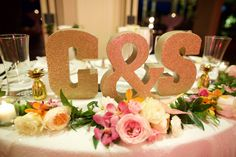 Gold Sparkly Monogram Letters for Wedding Table - Anna Kim Photography