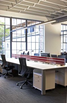 Open plan office with red mullions! #openplanoffice Cubicles.com