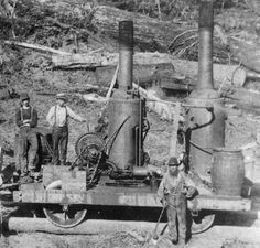 My next project is a coal-fired vertical boiler logging locomotive. Justin Koch (Triple R Services) is building the boiler for me so the boiler design Train Car, Train Tracks, White Tractor, Train Posters, Logging Equipment, Old Country Stores, Bonde, Old Trains, Steam Engine