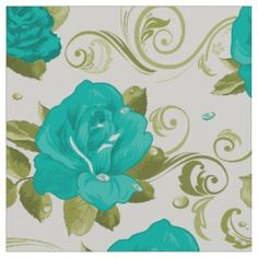 Pretty Floral Shabby Chic Teal Blue Roses Pattern Fabric Cute Shabby Chic Teal Blue Roses Flower Pattern Textile Fabric. Seamless vector design, prints beautifully. Great for sewing, photo backdrops, curtains and more! Customize the patt...