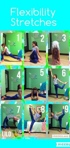 flexibility stretches: here are some stretches to help improve your flexibility! don't push yourself so hard that it hurts but always try your best! lunge or hip flexor twisted body stretch fold over seal or swan stretch strattle stretch w Cheerleading Flexibility Stretches, Cheer Stretches, Gymnastics Stretches, Dance Stretches, Stretches For Flexibility, Flexibility Training, Body Stretches, Gymnastics Workout, Scorpion Stretches