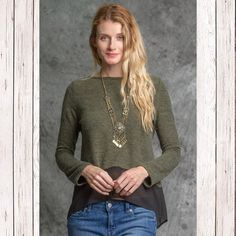Sweater top with sheer bottom Olive sweater top with sheer bottom. Sweaters Crew & Scoop Necks