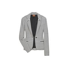 Real vs. Steal Tory Burch Magnus Striped Jacket ❤ liked on Polyvore featuring outerwear, jackets, white blazer jacket, striped jacket, stripe blazer, white jacket and white striped blazer