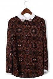 Baroque Print Top with Peter Pan Collar #Chicwish