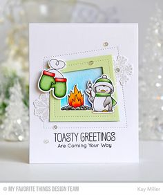Toasty Greetings, Cool Day, Snowflake Flurry, Peek-a-Boo Wonky Windows Die-namics, Toasty Greetings Die-namics, Cool Day Die-namics, Snowflake Flurry Die-namics - Kay Miller  #mftstamps