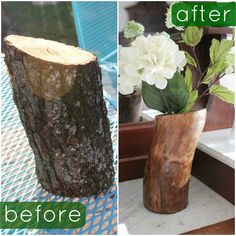Fun with the Fullwoods: DIY Log Vase