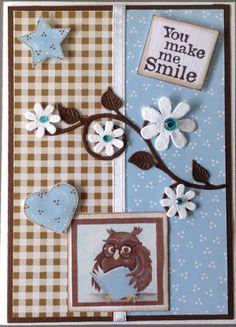 """""""You make me smile"""" met uilenplaatje en design papier van Marjoleine"""