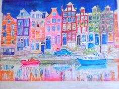 Amsterdam in gouache by artist Ann Lamb