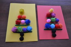 Christmas Card Craft – Pipe Cleaners and Pom Poms from Mudpies & Sunshine