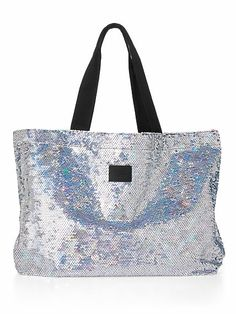 Large Tote Bag, sequin tote by Victorias Secret, Pink
