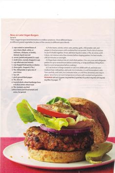 LOVE THESE! Easy to make AND Freeze for later! Now-or-Later Vegan Burgers (Vegetarian Times) via Karen