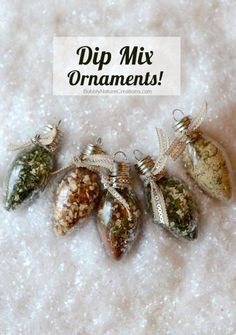 This is such a cute idea! Dip Mix Ornaments! Each Ornament holds spices that when mixed with sour cream become yummy dips!!! Great gift idea!