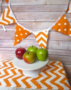 Halloween Orange White Chevron Polka Dot Birthday Party Bunting Banner sign | thecountrybarn - Housewares on ArtFire