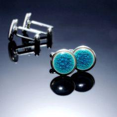 "Light turquoise cufflinks 15mm 0,6"" Turquoise ceramics, silver plated findings. Distinctive, elegant everyday accessory. Ceramic cufflinks"