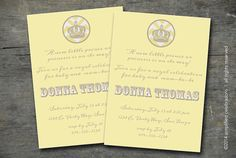 customized baby shower invitation with crown and chevron by simplifiedlivingshop