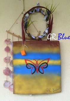 GR.Blue handmade decorated shopping bag. Find me on facebook and ETSY.com
