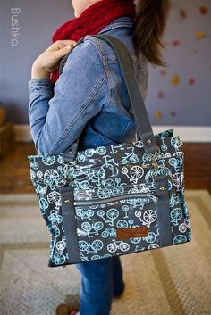 Bicycle Bushka (Waterproof Laminate)  want want want want!!!!  I absolutely LOVE this fabric and the awesome unique design of this diaper bag.  It's the perfect size, too!