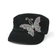 various colors e35b9 0c266 Infinity Selections Women s Rhinestone Washed Army Cap-Monarch-10900087- Black-One Size