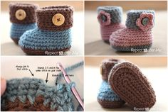 DIY Crochet Cuffed Baby Booties with Free Pattern (video)