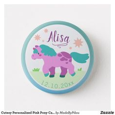 Shop Cutesy Personalized Pink Pony Cartoon Vector Art Button created by MadeByPiksu. Custom Buttons, Pastel Colors, Cartoon Art, Vector Art, Pony, Create, How To Make, Kids, Pictures