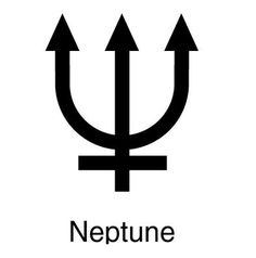 The symbol for Neptune is a trident, or three-pronged fork. This is a weapon associated with the Roman god Neptune, and the Greek god Poseidon. Read more: http://www.universetoday.com/21658/symbol-for-neptune/#ixzz37vJKHS66