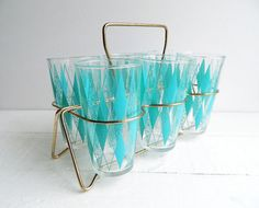 Vintage Glass Tumblers, Turquoise Diamonds, Hazel Atlas Glasses & Caddy, Set of 6 on Etsy, $68.00