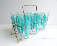 Vintage Glass Tumblers, Turquoise Diamonds, Hazel Atlas Glasses & Caddy, Set of 6 on Etsy, $68.00