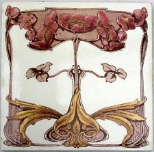Stunning Original Floral Art Nouveau Tile By Maker Marsden