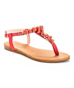 6a36e3e00 Henry Ferrera Red Embellished Queen T-Strap Sandal