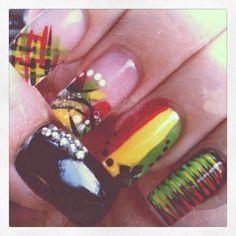 rasta nail art Glam Nails, Hot Nails, Colorful Nail Designs, Nail Art Designs, Jamaica Nails, Rasta Nails, Gothic Nails, French Manicure Designs, Seasonal Nails