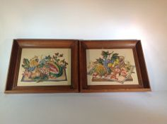 Vintage Pair of Assorted Fruit and Floral Prints in Wood Frames