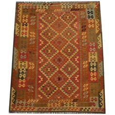 Herat Oriental Afghan Hand-woven Tribal Wool Kilim (6'1 x 7'9) (Handmade Tribal Wool Kilim), Beige, Size 6' x 8' (Natural Fiber, Geometric)