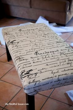 How to make an ottoman out of a cheap coffee table- add some character back in to the table, step by step