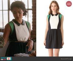 Beth's colorblock dress with green shoulders and leather collar on Chasing Life.  Outfit Details: http://wornontv.net/46001/ #ChasingLife
