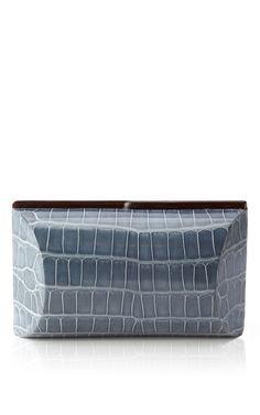 Shop Mango Blue Alligator Clutch by Celestina for Preorder on Moda Operandi