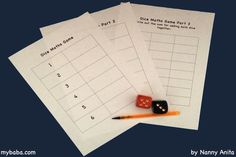 Use some dice to help pre schoolers and young children with their counting and number recognition with this Maths game. Math Games, Math Activities, Maths, Number Recognition, Math Skills, Young Children, Dice, Counting, Free Printables