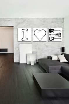I Heart Guitars White Canvas Wall Art//