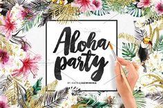 Aloha Party | Watercolor Set by Katsia Jazwinska on @creativemarket