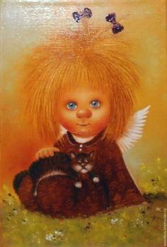 Купить Мой котюня . Картина маслом - мой котюня, ангелочек, картина, картина с ангелочком