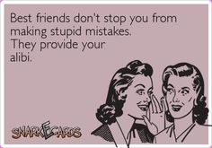 Best friends don't stop you from making stupid mistakes. They provide your alibi. | Snarkecards