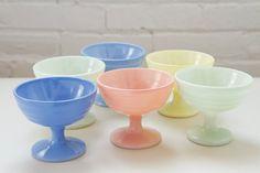 1950s Hazel Atlas Moderntone Sherbert Cups - 50s Pastel Ice Cream Bowls - Set Of Six on Etsy, $28.00