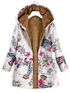 2a279f55f40 Plus Size Floral Printed Casual Hoodie Coat