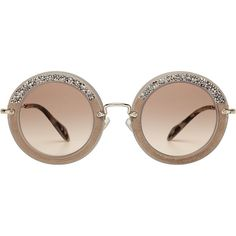 6b780799bfa Miu Miu Noir Embellished Round Sunglasses (6.705.035 VND) ❤ liked on  Polyvore