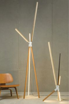 Stickbulb lamp, a skinny LED light housed inside the wooden scraps that can be painted and joined in a variety a ways