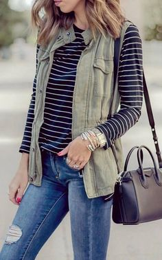 casual style obsession // vest + stripped top + bag + rips #omgoutfitideas #fashionblogger #trending