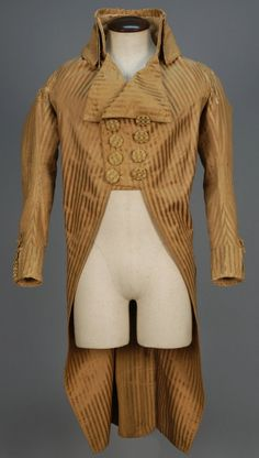 Double breasted coat, North America, 1792 - 1799. Mustard-brown silk with satin stripe, two-tone silk basket weave buttons, linen lining.