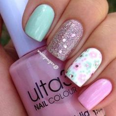 Bright Flower Nail Design for Summer  http://miascollection.com