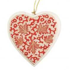 Flat heart ornament with red and gold leaf design