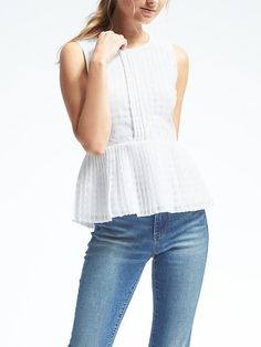 BR Pleated Peplum Top Light and classy top. Great for summer. Pleated front and peplum. *Please note last picture is not mine, only for style inspiration. Casual Work Outfits, Modern Outfits, White Peplum Tops, Modest Summer Fashion, Cute Tops, Latest Fashion Trends, Tunic Tops, Style Inspiration, My Style